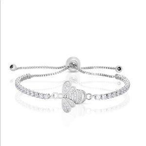 Silver Bee Adjustable Bolo Bracelet